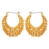 Wholesale Basketball Wives Fashion Jewelry - Vintage Earrings Women Gift Fashion Jewelry Free Shipping 18K Real Gold Plated Basketball Wives Jewelry Fancy Hoop Earrings E6771