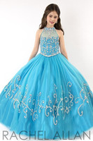 Wholesale kids hot pink ball gowns - Hot 2016 Cheap Little Girls Pageant Dresses Tulle Illusion High Neck Crystal Beads Sky Blue Kids Flower Girls Dress Cheap Birthday Gowns