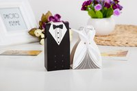 Wholesale Dresses Favor Boxes - 100Pcs Bridal Gift Cases Groom Tuxedo Dress Gown Ribbon Wedding Favor Candy Box For Wedding Party Favor 2016 June Style