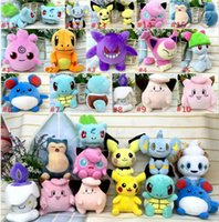 Wholesale Pikachu Plush Doll Christmas - New Poke Plush Toys Dolls Pocket Monster Plush Toys 15 styles 13-18cm Poke Stuffed Dolls Christmas toys Pikachu Plush Dolls D724 120