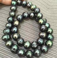collar de perlas de pavo real tahitiano al por mayor-Tahitian 10-11mm Peacock Green Pearl Collares 18 pulgadas 14k Broche de oro