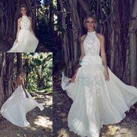 Limor Rosen 2017 Country Bohemian Abiti da sposa in cotone Alto Neck Backless Elegante Outdoor Plus Dimensione Boho Giardino Bridal Wedding Abito Economico