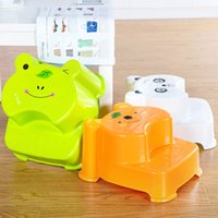 Cute Stair Stool Plastic Children Salle de bain Banc antidérapant Lovely Frog Bear Double tabouret Stair Bench Cartoon Etui imperméable Chaise colorée