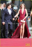 Wholesale Miranda Kerr Pink Chiffon Dress - Hot Sale! Miranda Kerr Golden Globe Zuhair Murad Halter A Line Hilo Chiffon Ruffles Sexy Burgundy Prom Celebrity Evening Dresses