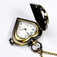 Wholesale clock locket necklaces - Hollow Heart Pocket Watches Necklaces Bronze Fob Quartz Watches Locket Wall Clocks Lockets women jewelry Christmas gift 230222