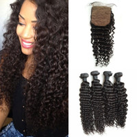 Wholesale weave knot - 4 Bundles With Closure Silk Top 4*4inch Bleached Knots Brazilian Human Hair Deep Wave With Closure G-EASY