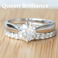 Queen Brilliance Sólido 585 Oro Blanco 14K Lujo 1.45 quilates GH Color EngagementWedding Moissanite anillo de diamantes Set 17903