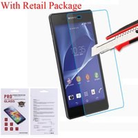 Wholesale Moq C - 0.4 MM 9H Explosion Proof Real Tempered Glass Film Screen Protector For Sony Xperia Z2 Z3 Sony Xperia C S39h Xperia M2 With Package MOQ:100p
