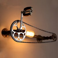 Wholesale Bicycles Vintage Style - Bicycle Gear Wall Lamp Industrial Style Iron Art Wall Light Loft Cafes Corridor Retro Water Pipe Wall Lamp Edison Bulb Gear Chain Wall Light