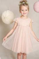 Wholesale Empire Waist Gown For Girls - 2016 Gold Flower Girl Dresses For Weddings Lace bodice With Cap Sleeves Empire Waist Knee Length Beauty Custom Made Girls Ball Gowns