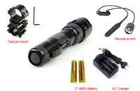 Cheap hunting lights for guns - 502B LED 2000LM Tactical Flashlight Torch Light+Gun Mount+ Battery+Remote Switch A Complete Set for Hunting Fishing