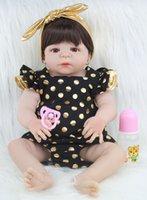 bonecas de silicone para menina venda por atacado-55 centímetros Full Body Silicone Renascer Baby Doll Toy realista recém-nascido princesa Babies Boneca com Brinco menina Brinquedos Toy Acessórios Bathe