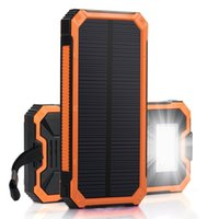 Wholesale External Cell Battery Charger - Solar Charger with 6LED Flashlight 8000mAh Solar Power Bank Dual USB External Battery Charger Cell Phone Battery Pack Outdoor Backup Charge