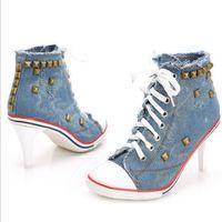 Wholesale High Heel Jeans Shoes - 2016 New Fashion Ladies Pumps Sapato Feminino Rivets Canvas Jeans Party Shoes Women Femme Denim High Heels Shoes