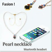Wholesale Notes Necklace - new design fashion style stereo pearl necklace diamond blutooth bass hi-fi necklace in-ear earburd for samsung note 7 s8 plus smart phone