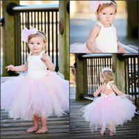 Wholesale new model dresses for kids - Lovely Ivory and Pink Tutu Flower Girl Dresses Baby First Communion Gowns 2017 New Puffy Mini Child Party Gowns for Kids Party MC0212
