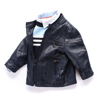 Wholesale Matches Leather Jackets - 2016 boys kids coat Quality PU leather jackets All-matched handsome children Autumn Spring Stand collar jacket outwear 3 4 5 6 7 8 years