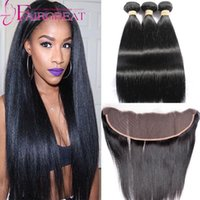 Wholesale Cheap Fast Shipping Virgin Hair - Cheap Human Hair Weave With Lace Frontal 13*4 Unprocessed Brazilian Straight Virgin Hair Wefts Ear To Ear Lace Frontal Closure Fast Shipping