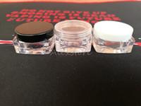 tarros redondos de plástico transparente al por mayor-Recipiente de cera de plástico de forma redonda y cuadrada 3g 5g 10g maquillaje caja de contenedores de silicona caja de maquillaje transparente dab dabber jar DHL