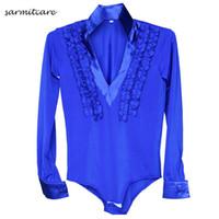 Camisa de baile latino para los hombres del muchacho 5 colores adultos  tamaños de los cabritos D086 trajes de la danza del samba del traje del  samba del ... 45b97b4a50f