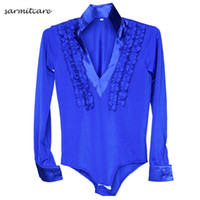 Wholesale Samba Shirts - Latin Dance Shirt for Boy Men 5 Colors Adult Kids Sizes D086 Samba Dance Costumes Tango Samba Costume Dance Clothes Latin Shirts