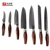 Wholesale Tools Cut Fruit - Damascus steel knives 7 sets suit sashimi knife fruit ,chef knife filleting,bread knife kitchen color wood handle cutting tools