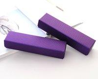 cajas de pulsera larga al por mayor-[Sencillo siete] Classic Purple Diamond Pattern Necklace Box / Festival Joyería Pulsera Embalaje / Trend Pedant Paquete / Regalo Estuche de larga duración