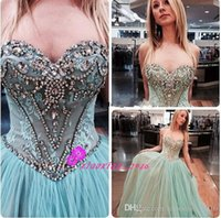 Wholesale Mint Dresses For Maternity - Vintage Mint Tulle 2016 Princess Prom Dresses for Teens with Sweetheart Sheer Crystal Lace Top Corset Back Long Evening Party Ball Gowns