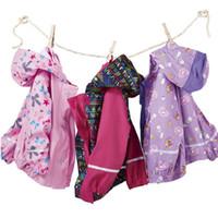 Wholesale Cake Fashion For Kids - 50pcs Children PU Raincoat 2016 New Kids Girl Jacket Striped Cake Print Poncho Rain Coat Waterproof Fashion Rainwear For Outdoor ZA0603
