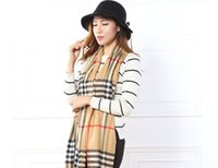 Wholesale Scarf Shawl Designer - New Brand Winter Plaid Scarf 2017 Tartan Cotton Scarf Women Plaid Blanket Scarf New Designer Acrylic Basic Shawls Women's Scarves and Wraps