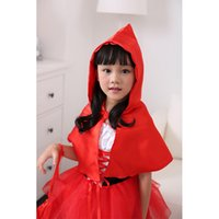 Wholesale Cute Christmas Costumes - Wholesale- 3Pcs Girls Halloween Costume Cute Kids Little Red Riding Hood Cosplay Dress Girls Lovely Christmas Dress Child Festival Gifts