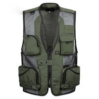 Wholesale Green Photographers - Mens christmas equipment cardigan Vests waistcoat plus size XXXL 5XL outerwear clothing photographer sleeveless jacket