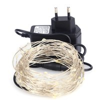 Wholesale Wire Adapter Flash - 10M 100 LED Copper Wire light string lighting Fairy Party Wedding Christmas Flashing LED strip 10m copper led strings+2A Adapter