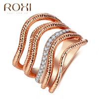 Wholesale 18k Gold Jewelry India Wholesale - ROXI Brand Rings for Women Irregular Shaped CZ Sliver and Rose Gold Color Fashion Jewelry Online Shopping India New Year Gift