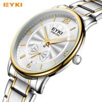 Wholesale Eyki 3atm - Top Brand Men's Watches EYKI Watch Men Full Steel Fashion Casual Quartz-watch 3ATM Small Dial Work Clock Man Business Wristwatch