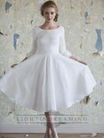 Wholesale Black Princess Line Dress - 2016 Elegant White Little Short Dresses Classic Vintage A-line Long Sleeves Tea Length Wedding Dresses Princess Bridal Gowns