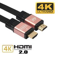 Wholesale Cable Hdmi Stereo - Top Quality FLAT HDMI 2.0 4K 30AWG HD 18Gbps 3D Audio Return Ethernet HDMI Cable 1m 1.5m 1.8m Support HD 1080p 1440p 2x1080p 2160p