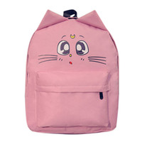 Wholesale White Cat Backpack - Cat Backpack For Women Cute Cat Printing Backpacks for Teenage Girl Travel Back Pack Sailor Moon Canvas Backpack Mochila Escolar