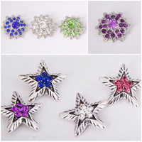 botones a presión de metal de 18 mm. al por mayor-NOOSA 18mm estrella y flor broche de joyería 8 estilos Mini Crystal Rhinestone Noosa Pedazos Botón broches de presión para las pulseras al por mayor E560L