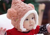 Wholesale Bonnet Protector - Winter Children hat Bonnet baby hats for girls child kids hat plus velvet wool knitted hat protector ear cap free shipping MZ38