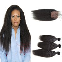 Wholesale weaves extention for sale - Group buy unprocessed peruvian virgin hair kinky straight extention bundles with silk base closure top quality G EASY