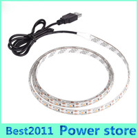 Wholesale Cars Led Back Light - 5V DC SMD 3528 60leds m Warm Pure Cool White Flexible LED Strip Light with USB For Car Computer Tent TV Back Lighting