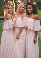 Wholesale Holiday Bridesmaid Dresses - Stunning 2017 A-Line Pink Long Holiday Dresses Off-the-shoulder Bridesmaid Dress With Sleeves Zipper Back Cheap Wedding Guest Dress Custom