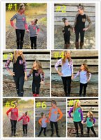 Wholesale Family Christmas Outfits - 8 Color Mother And Daughter T-shirt Patchwork 2017 Fashion mother & kids Full Sleeve family matching outfits Top tees Christmas