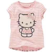 Wholesale New Arrival Boys Shorts - BST15 NEW ARRIVAL Little Maven Girls Kids Cotton Short Sleeve pink stripped cat with bow Print T shirt girls causal summer t shirt Free Ship