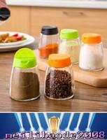 Wholesale Salt Pepper Shaker Lids - Pepper Shaker with 2 Open Lids Glass Cruet Pepper BBQ Bottles Cans Salt Spice Shaker Clear Bottle Herb Tool MYY