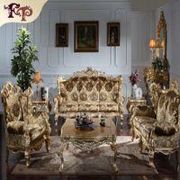 antike wohnzimmer möbel-sets großhandel-Barocke Wohnzimmersofamöbel-Antike klassische Sofagarnitur-Italienische klassische Luxus-Sofagarnitur