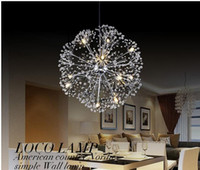 Wholesale minimalist k9 crystal pendant online - Creative Dandelion LED Crystal Chandeliers leds head droplight Modern Minimalist K9 Crystal Pendant Light Room Lights