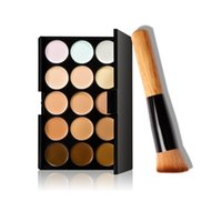 Wholesale brush for cream foundation - 15 colors face concealer powder foundation cream palette make up set for women party cosmetic puffs brush tool kit