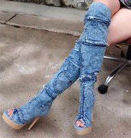 Wholesale Thigh High White Lace Boots - Denim Blue Jeans Patchwork Thigh High Boots Lace Decor Tear Cut Outs Stiletto Heel Zippered Platform Botas Mujer